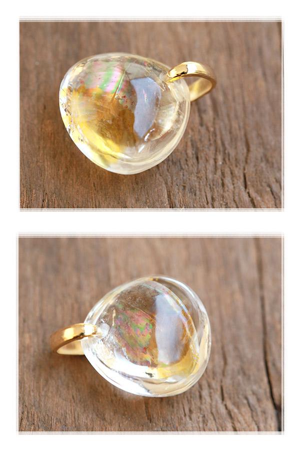 【天然石ペンダント】雲母入りレインボー水晶(ブラジル産)・ペンダントトップ(ネックレス別売)