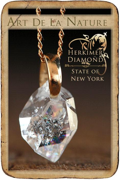 【天然石ペンダント】ハーキマーダイヤモンド(Aランク・レインボー入り・米国産)・ペンダントトップ(ネックレス別売)