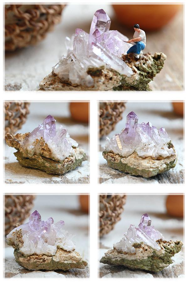 希少!【メキシコ産】アメジスト(紫水晶)・クラスター原石(プライザー人形付)
