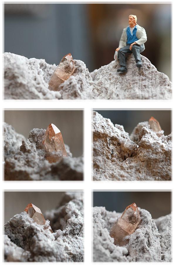 【アメリカ・トーマスレンジ産】トパーズ結晶・母岩付き原石(プライザー人形付)